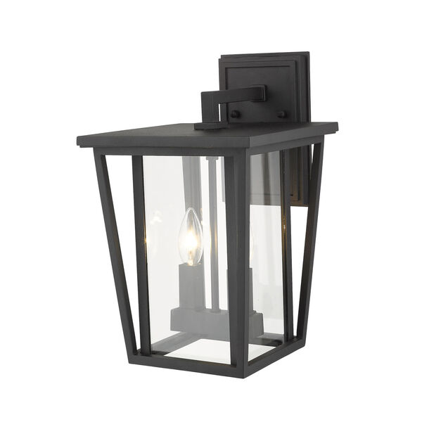 Seoul Black Two-Light Outdoor Wall Sconce With Transparent Glass - (Open Box), image 4