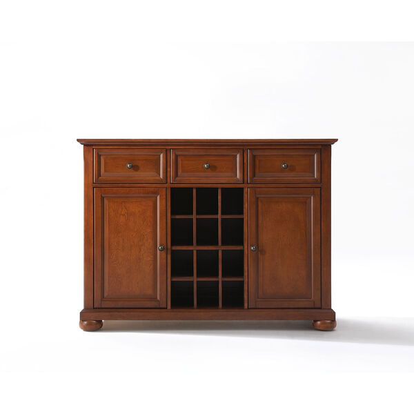 Alexandria Buffet Server / Sideboard Cabinet with Wine Storage in Classic Cherry Finish, image 1