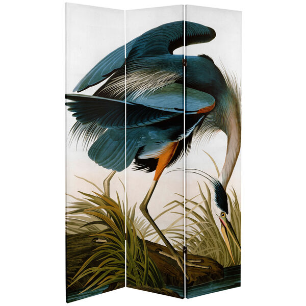 6-Foot Tall Double Sided Audubon Heron and Flamingo Canvas Room Divider, image 2
