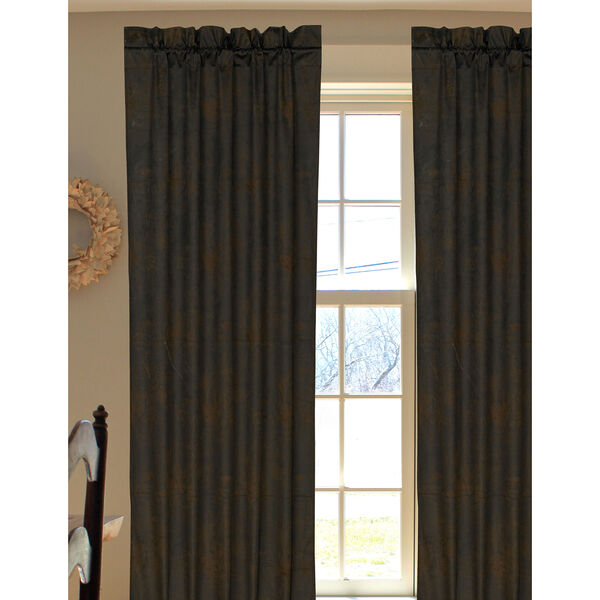 Faux Leather Chocolate 84 x 48-Inch Curtain Single Panel, image 1