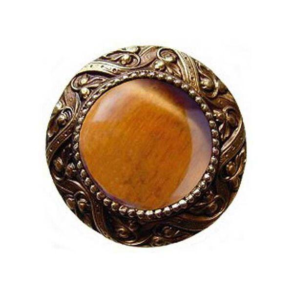 Brass Victorian Jeweled Knob with Tiger Eye Stone , image 1