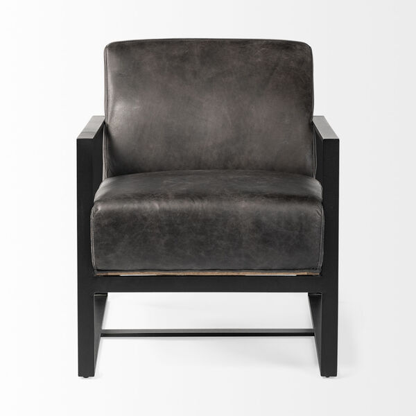 Stamford I Ebony Leather Wrapped Arm Chair, image 2