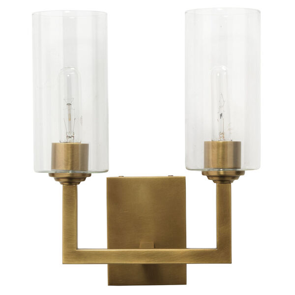 Linear Antique Brass and Clear Glass Two-Light Wall Sconce, image 1