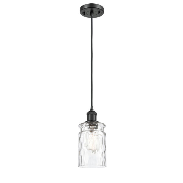 Ballston Matte Black Five-Inch One-Light Mini Pendant with Clear Waterglass Glass Shade, image 1