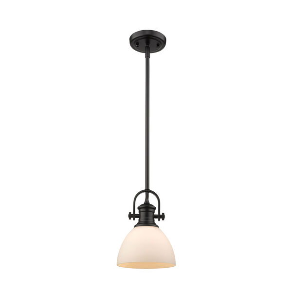 Hines Black 7-Inch One-Light Mini Pendant with Opal Glass, image 2