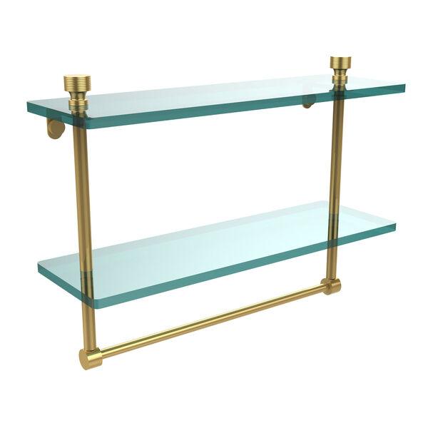 Foxtrot Polished Brass Double Shelf with Towel Bar, image 1