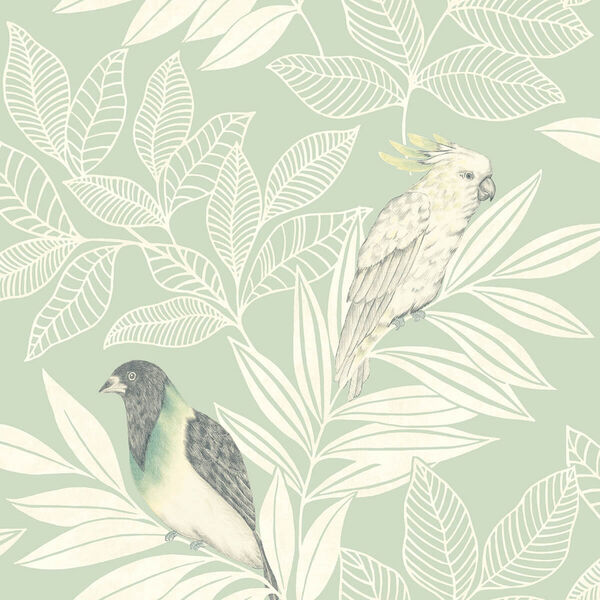 Boho Rhapsody Mint and Ivory Paradise Island Birds Unpasted Wallpaper, image 2