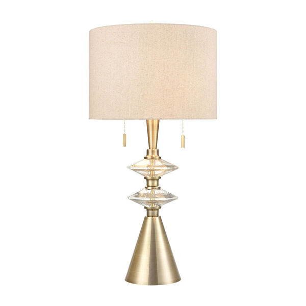 Annetta Antique Brass and Gold Two-Light Table Lamp, image 1