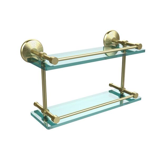 Monte Carlo 16 Inch Double Glass Shelf with Gallery Rail, Satin Brass, image 1