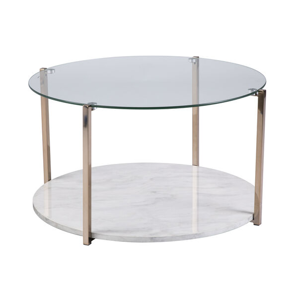 Avenida Gold with Gray Veined White Faux Marble Coffee Table, image 4