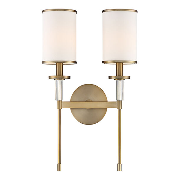 Stafford Aged Brass Two-Light Wall Sconce, image 1