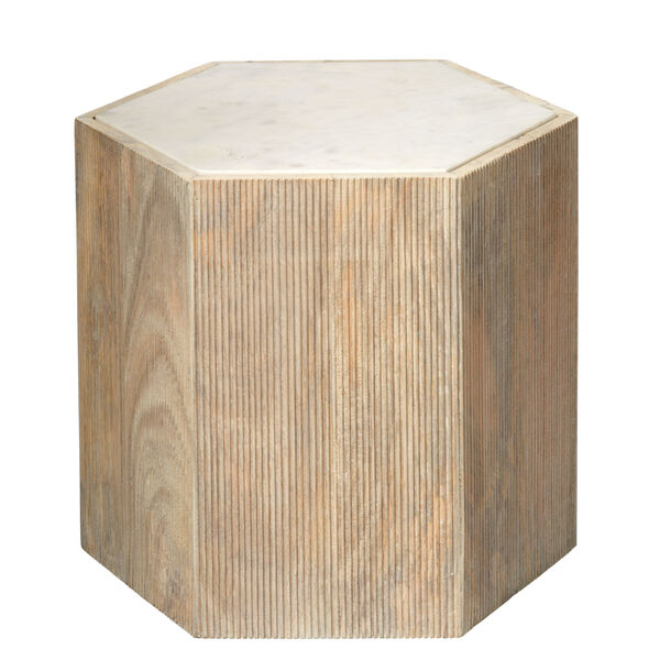 Argan Natural Wood and White Marble 18-Inch Hexagon Table, image 1