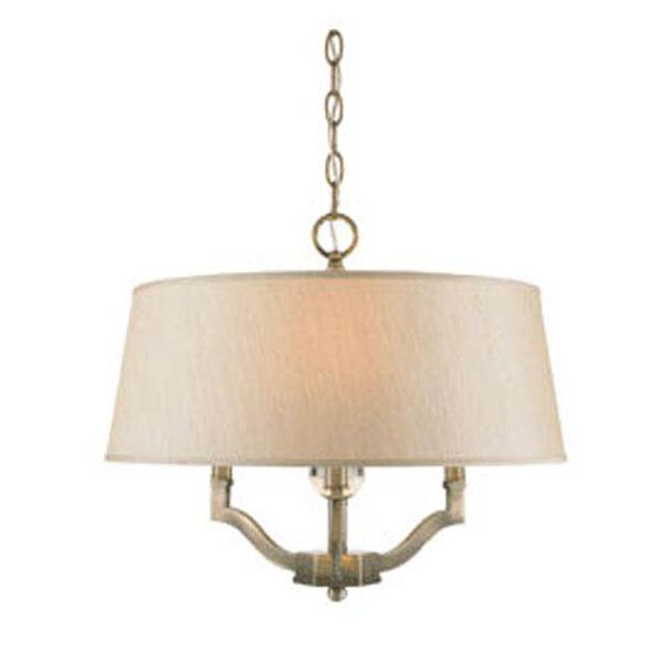 Waverly Antique Brass Convertible Semi-Flush with Silken Parchment Shade, image 1