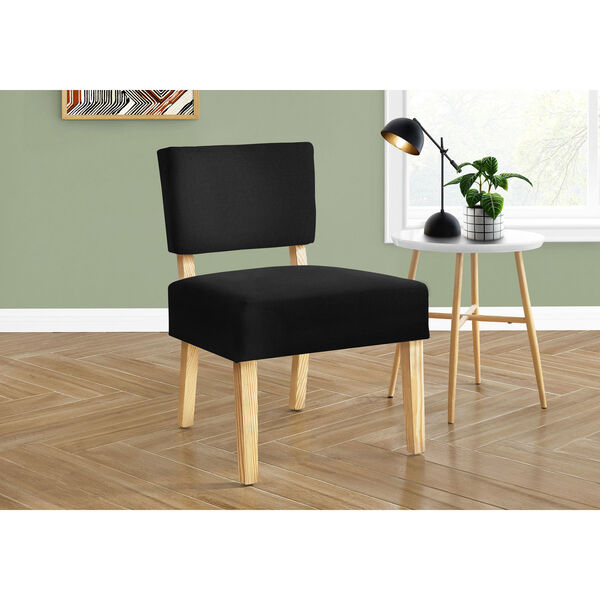 Black and Natural Armless Chair, image 2