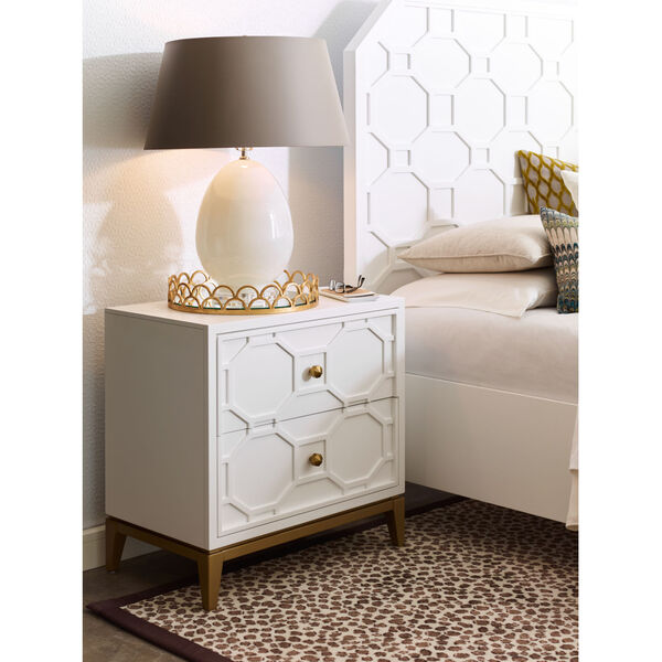 Chelsea by Rachael Ray White with Gold Accents Nightstand, image 2