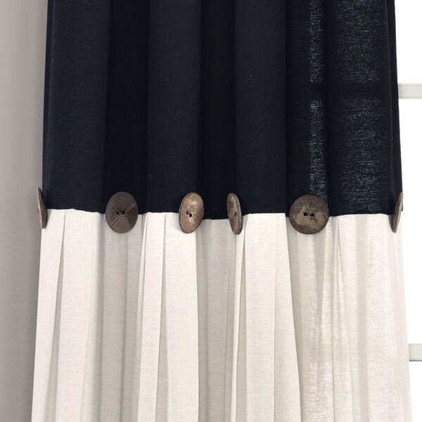 Linen Button Black and White 40 x 95 In. Single Window Curtain Panel, image 3