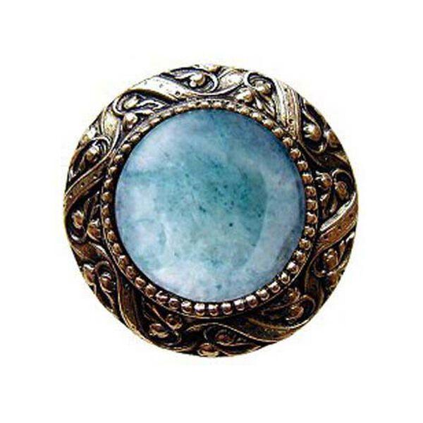 Brite Brass Victorian Jeweled Knob with Green Aventurine Stone , image 1