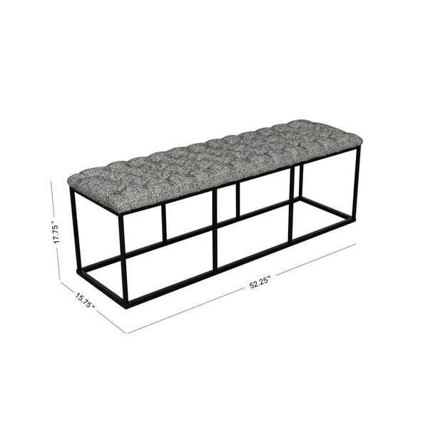 Black and White 52-Inch Fabric and Metal Bench, image 2