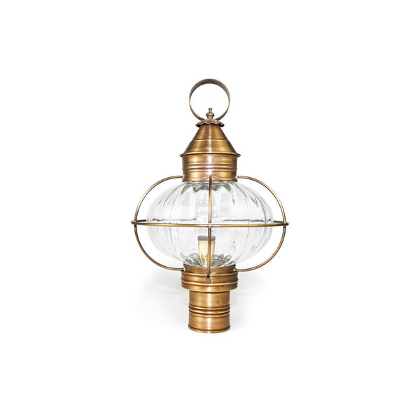 Onion Antique Brass One-Light Outdoor Post Mount with Optic Glass, image 1