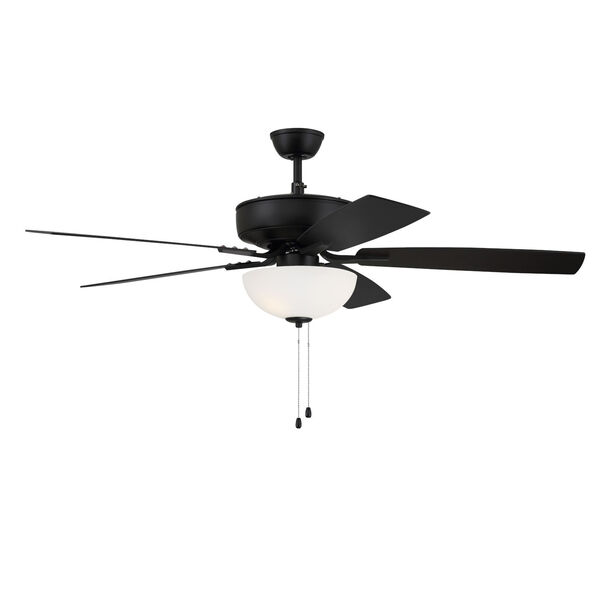 Pro Plus Flat Black 52-Inch Two-Light Ceiling Fan with White Frost Bowl Shade, image 3