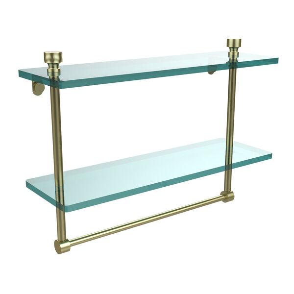 Satin Brass Double Shelf with Towel Bar, image 1