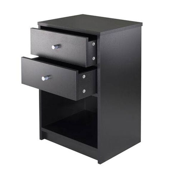 Ava Accent Table with Two Drawers in Black Finish, image 2