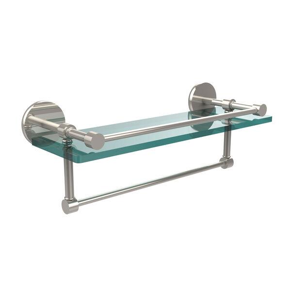 16 Inch Gallery Glass Shelf with Towel Bar, Polished Nickel, image 1