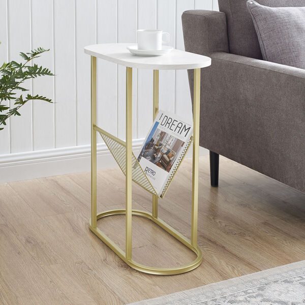 Margo White and Gold Side Table with Magazine Rack, image 2