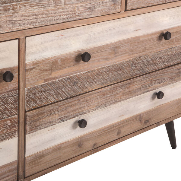 Newport Whitewash Weathered Gray Antique Black and Lacquer Dresser, image 6
