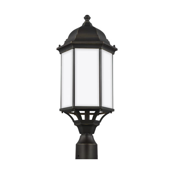 Sevier Antique Bronze 22-Inch One-Light Outdoor Post Mount with Satin Etched Shade, image 1