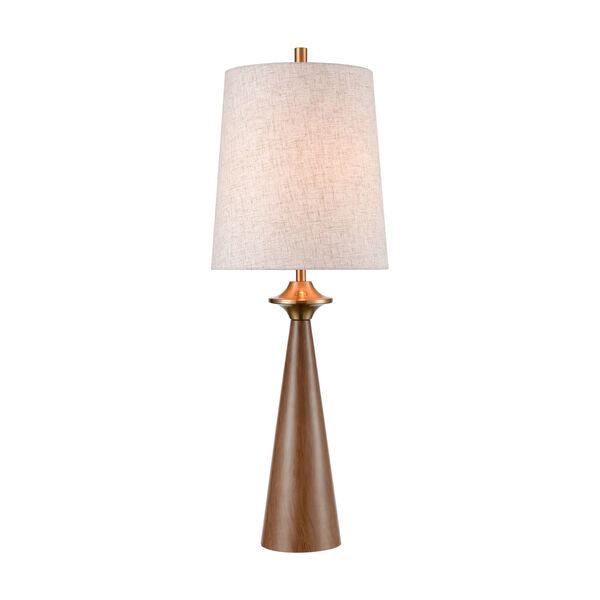 Stissing Brown Burlwood Aged Brass One-Light Table Lamp, image 1