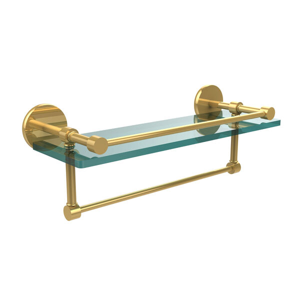 16 Inch Gallery Glass Shelf with Towel Bar, Polished Brass, image 1