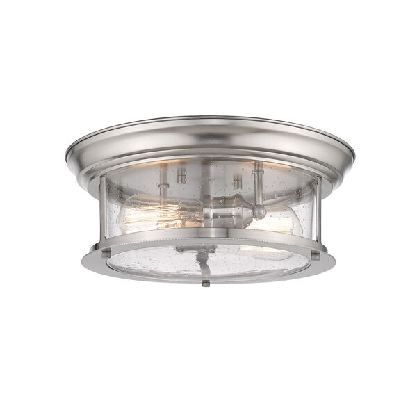 Sonna Brushed Nickel Two-Light Flush Mount with Transparent Seedy Glass, image 1