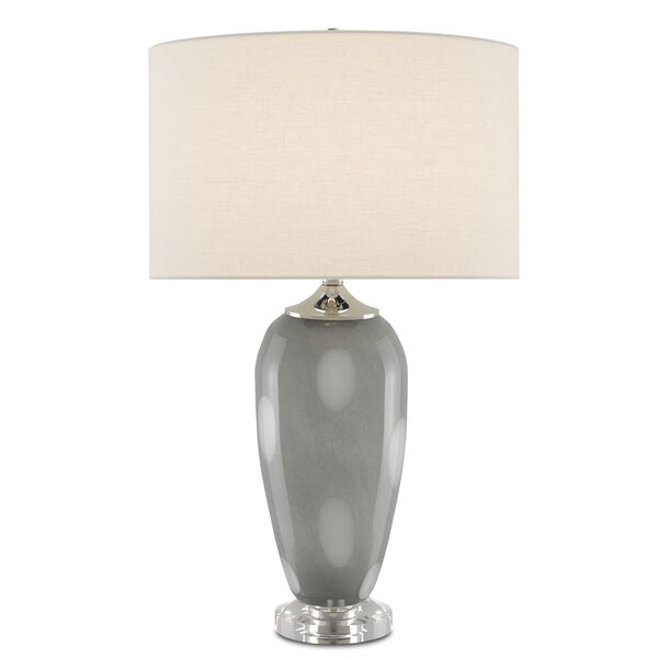 Polydore Dark Gray White Polished Nickel One-Light Table Lamp, image 1