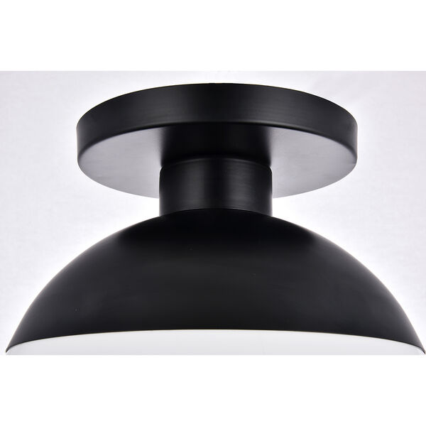 Eclipse Black and Frosted White 12-Inch One-Light Semi-Flush Mount, image 5