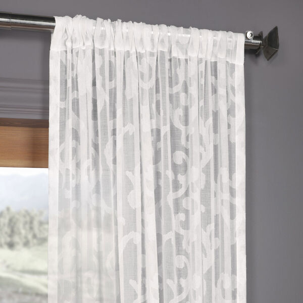 White Scroll Patterned Faux Linen Sheer 84 x 50 In. Curtain Single Panel, image 3