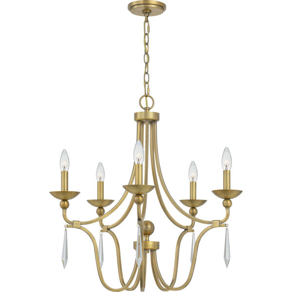Joules Aged Brass Five-Light Chandelier, image 3
