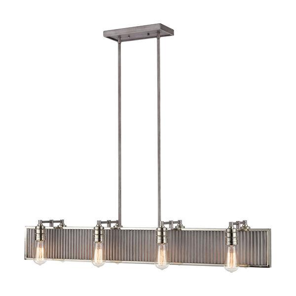 Corrugated Steel Weathered Zinc and Polished Nickel Eight-Light Pendant, image 1