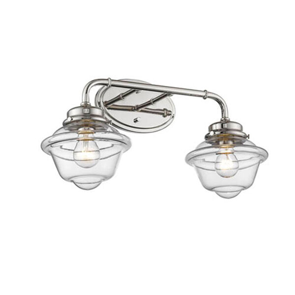 Neo-Industrial Polished Nickel TwNeo-Light Vanity with Clear Schoolhouse Glass, image 1