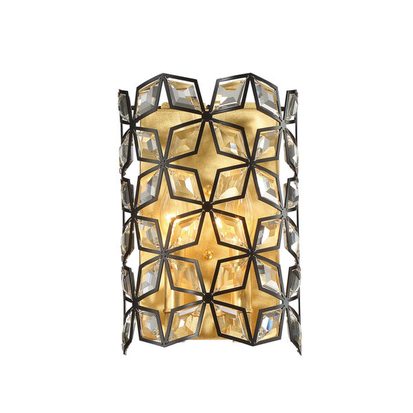 Brookcrest Sand Coal and Gold Leaf Two-Light Wall Sconce, image 1