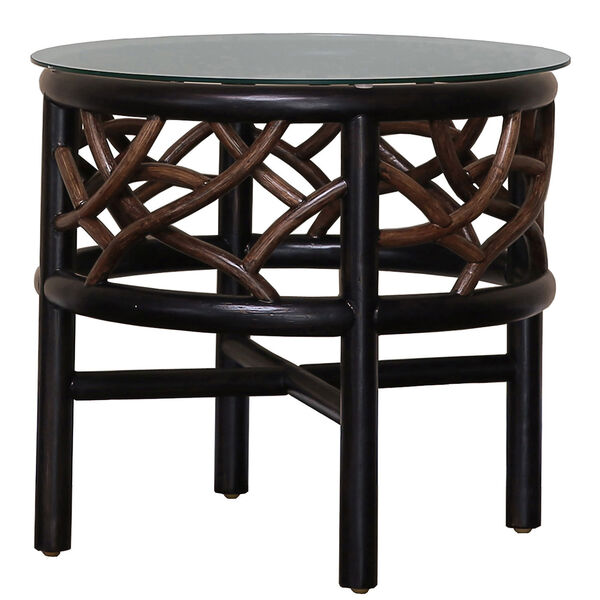 Trinidad Natural Indoor End Table with Glass, image 1