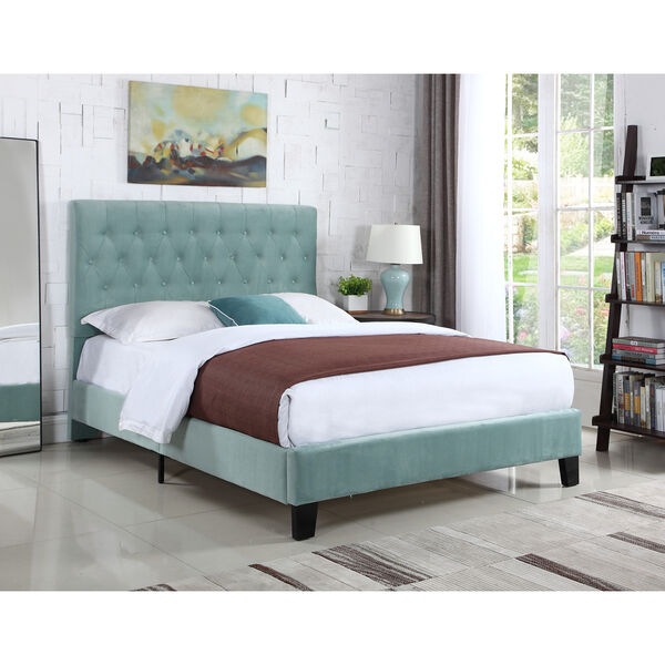 Linden Twin Light Blue Twin Upholstered Bed, image 2