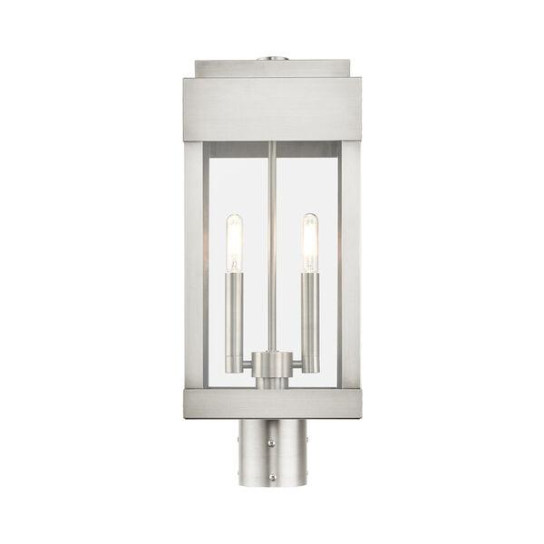 York Brushed Nickel Two-Light Outdoor Post Lantern, image 3