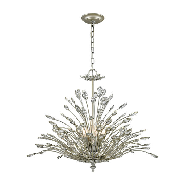Mullica Aged Silver Six-Light Chandelier, image 1