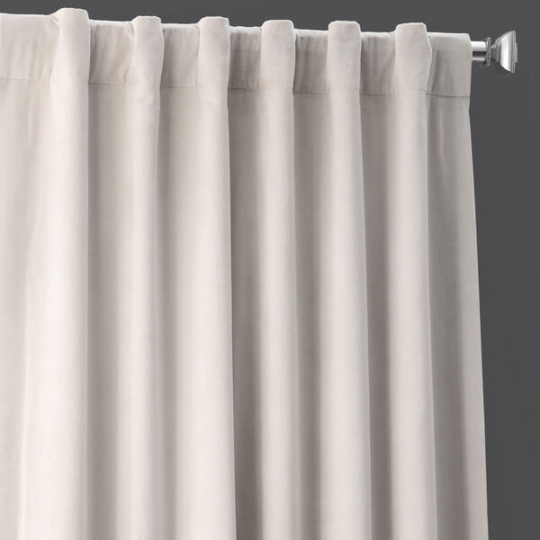 Porcelain White Blackout Velvet Pole Pocket Single Panel Curtain, 50 X 108, image 4