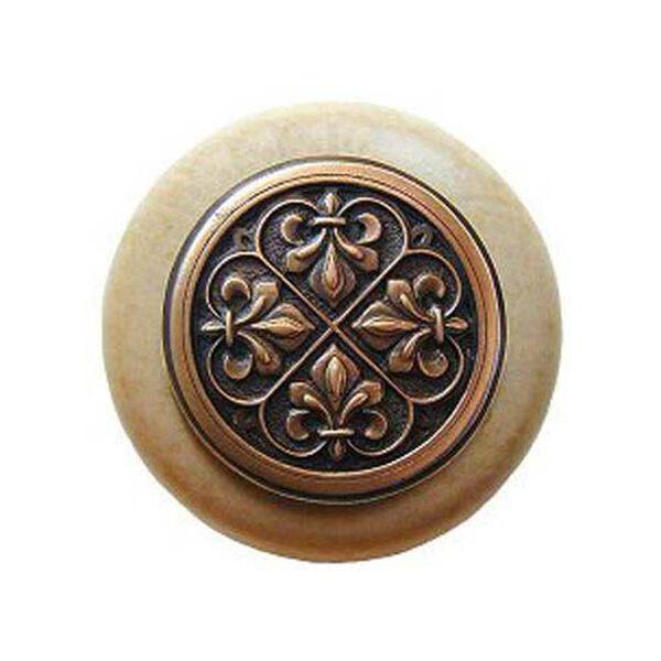 Natural Wood Fleur-de-Lis Knob with Antique Copper, image 1
