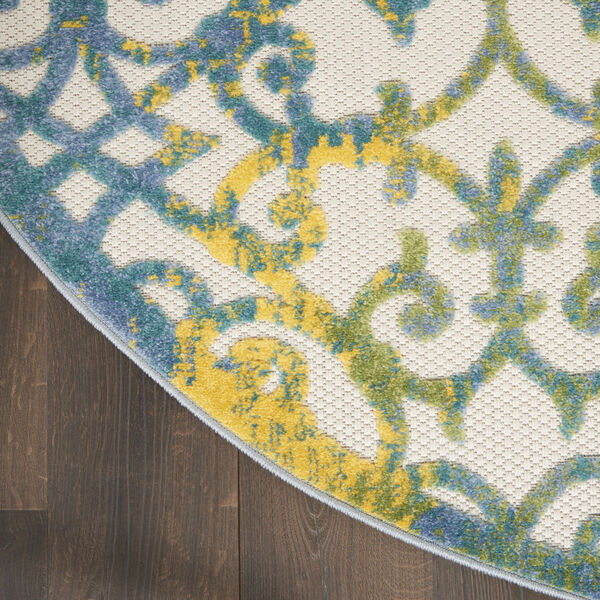 Aloha Ivory and Blue 5 Ft. 3 In. x 5 Ft. 3 In. Round Indoor/Outdoor Area Rug, image 4