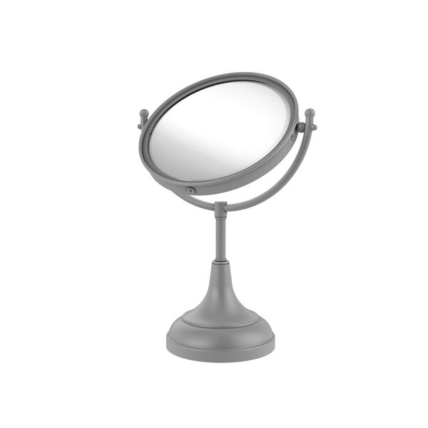 Matte Gray Eight-Inch Vanity Top Make-Up Mirror 3X Magnification, image 1