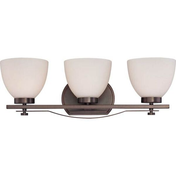 Bentlley Hazel Bronze Finish Three Light Vanity Fixture with Frosted Glass, image 1