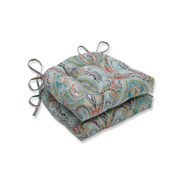 Pretty Blue Green Red Large Chairpad, Set of Two, image 1